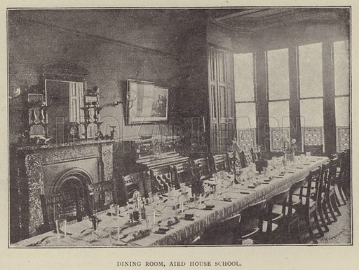 Dining Room, Aird House School. Illustration for Illustrations, a Pictorial Review of Knowledge (W Kent, 1889).