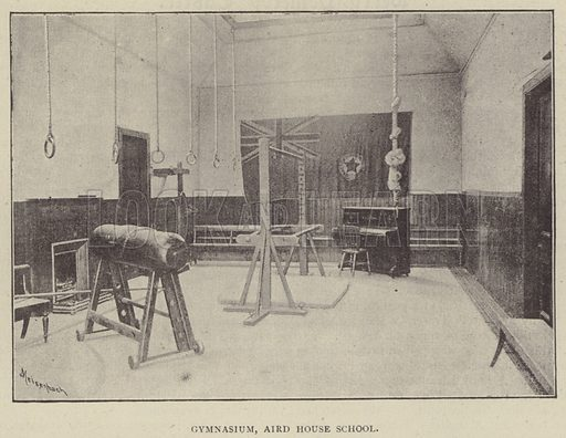 Gymnasium, Aird House School. Illustration for Illustrations, a Pictorial Review of Knowledge (W Kent, 1889).