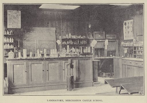 Laboratory, Merchiston Castle School. Illustration for Illustrations, a Pictorial Review of Knowledge (W Kent, 1889).