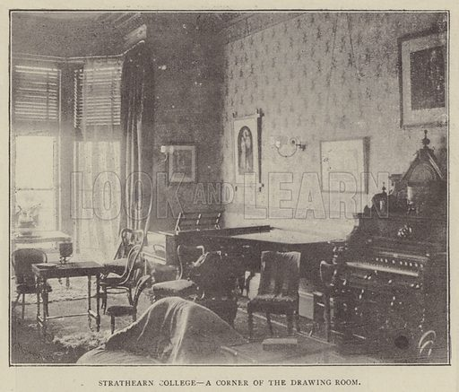 Strathearn College, a corner of the Drawing Room. Illustration for Illustrations, a Pictorial Review of Knowledge (W Kent, 1889).