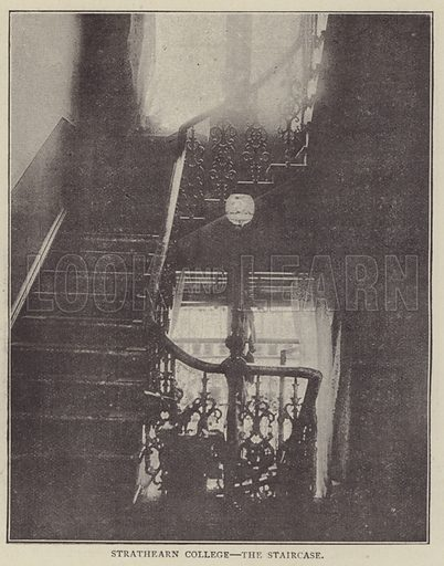 Strathearn College, the Staircase. Illustration for Illustrations, a Pictorial Review of Knowledge (W Kent, 1889).