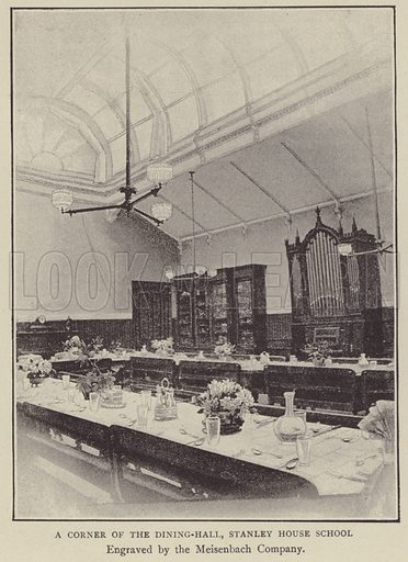 A corner of the Dining-Hall, Stanley House School. Illustration for Illustrations, a Pictorial Review of Knowledge (W Kent, 1889).