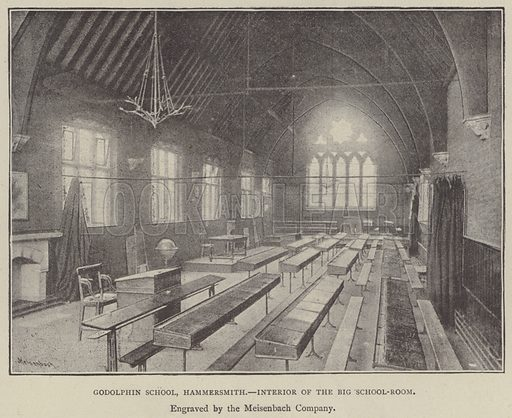 Godolphin School, Hammersmith, interior of the Big School-Room. Illustration for Illustrations, a Pictorial Review of Knowledge (W Kent, 1890).