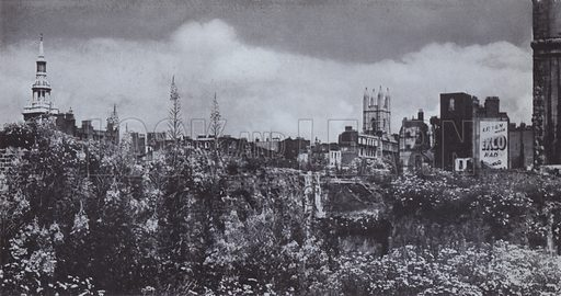 The spire of St Mary-le-Bow and the towers of St Mary Aldermary, and St Mildred, Bread Street, seen across the wilderness of flowering weeds which rapidly covered some of the scars left by the bombing of the city. Illustration for The Lost Treasures of London by William Kent (Phoenix House, 1947).