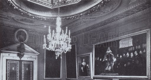 The hall of the Barbers' Company, built by Inigo Jones, perhaps the most beautiful room to be seen in any of the Livery Companies' premises, which was completely destroyed. Holbein's picture of Henry VIII granting a charter to the Company was saved. Illustration for The Lost Treasures of London by William Kent (Phoenix House, 1947).