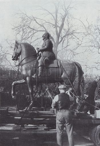 Charles I returns to Whitehall. The statue was sent to Lord Rosebery's country home for safety and a strong-point, disguised as an information bureau, built round its plinth in preparation for invasion. Illustration for The Lost Treasures of London by William Kent (Phoenix House, 1947).