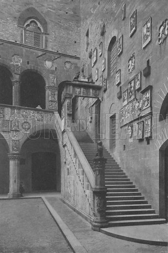 Firenze, Cortile e Scala del Palazzo del Podesta. Illustration for Ricordo Di Firenze, c 1895.