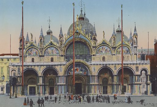 Venezia, Facciata Chiesa San Marco. Illustration for Ricordo di Venezia, c 1900. Exceptionally well coloured early photographs.