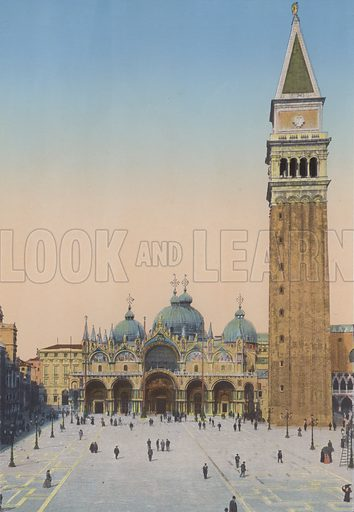 Venezia, Chiesa San Marco e Campanile. Illustration for Ricordo di Venezia, c 1900. Exceptionally well coloured early photographs.