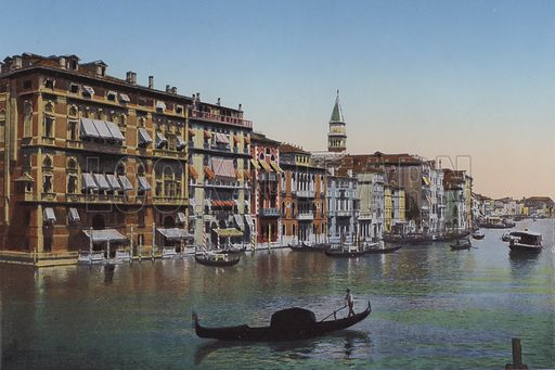 Venezia, Canal Grande, Fuga Alberghi. Illustration for Ricordo di Venezia, c 1900. Exceptionally well coloured early photographs.