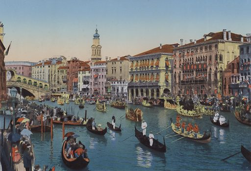 Venezia, Regate sul Canal Grande. Illustration for Ricordo di Venezia, c 1900. Exceptionally well coloured early photographs.