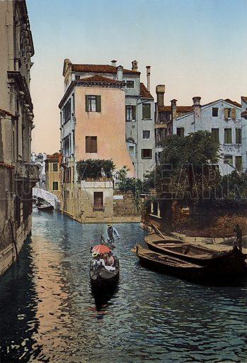 Venezia, Rio Sant'Agostin. Illustration for Ricordo di Venezia, c 1900. Exceptionally well coloured early photographs.