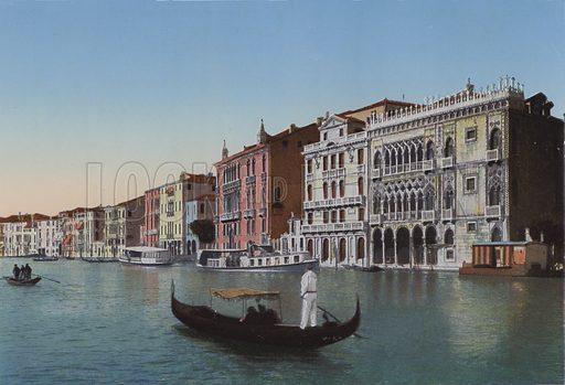 Venezia, Canal Grande, Palazzo Ca d'Oro. Illustration for Ricordo di Venezia, c 1900. Exceptionally well coloured early photographs.