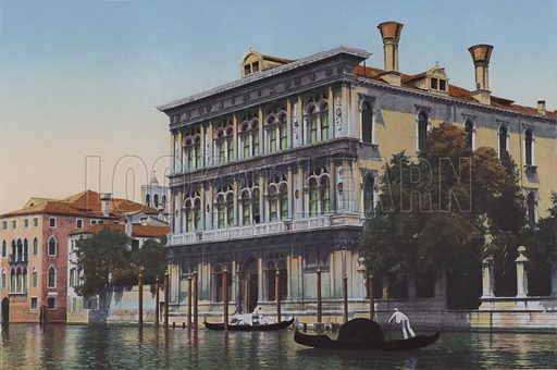 Venezia, Canal Grande, Palazzo Vendramin. Illustration for Ricordo di Venezia, c 1900. Exceptionally well coloured early photographs.