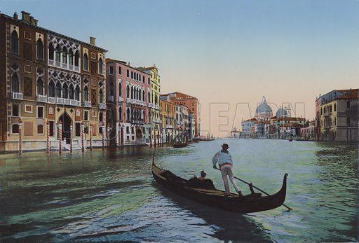 Venezia, Canal grande dall'Accademia, Palazzo Franchetti. Illustration for Ricordo di Venezia, c 1900. Exceptionally well coloured early photographs.