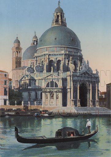Venezia, Chiesa della Salute. Illustration for Ricordo di Venezia, c 1900. Exceptionally well coloured early photographs.