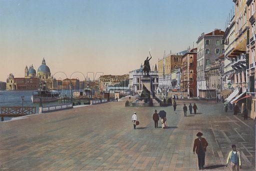 Venezia, Riva Schiavoni. Illustration for Ricordo di Venezia, c 1900. Exceptionally well coloured early photographs.