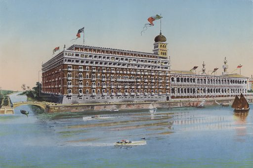Hotel Excelsior, Lido. Illustration for Ricordo di Venezia, c 1900. Exceptionally well coloured early photographs.
