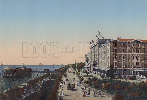 Venezia, Lido. Illustration for Ricordo di Venezia, c 1900. Exceptionally well coloured early photographs.