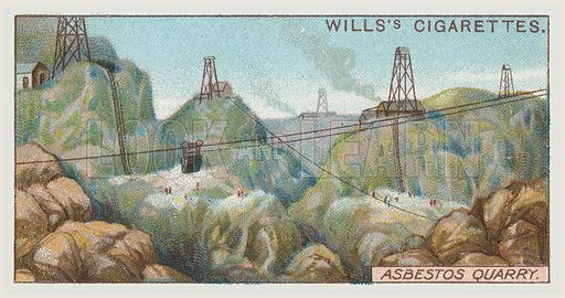 Asbestos quarry. Illustration for one of a series of cigarette cards on the subject of mining, published by Wills's Cigarettes, early 20th century.