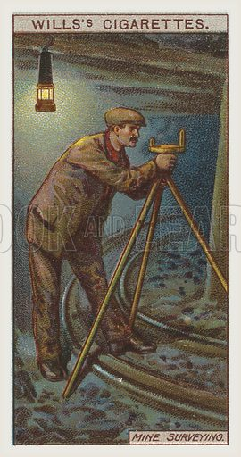 Mine surveying. Illustration for one of a series of cigarette cards on the subject of mining, published by Wills's Cigarettes, early 20th century.