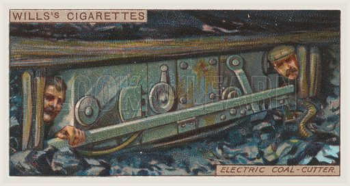 Electric coal-cutter. Illustration for one of a series of cigarette cards on the subject of mining, published by Wills's Cigarettes, early 20th century.