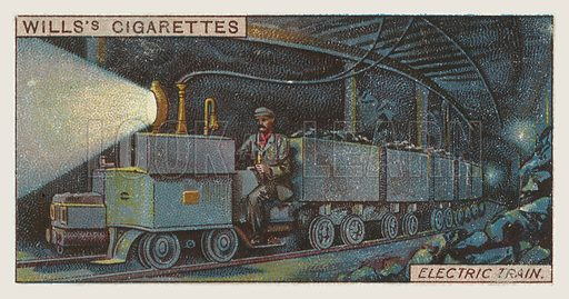 Electric train. Illustration for one of a series of cigarette cards on the subject of mining, published by Wills's Cigarettes, early 20th century.