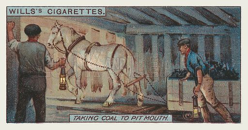 Taking coal to pit mouth. Illustration for one of a series of cigarette cards on the subject of mining, published by Wills's Cigarettes, early 20th century.