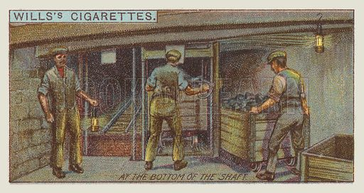 At the bottom of the shaft. Illustration for one of a series of cigarette cards on the subject of mining, published by Wills's Cigarettes, early 20th century.