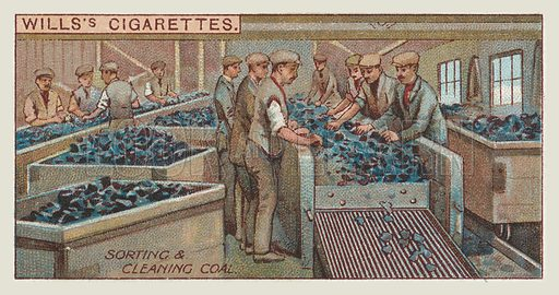 Sorting and cleaning coal. Illustration for one of a series of cigarette cards on the subject of mining, published by Wills's Cigarettes, early 20th century.