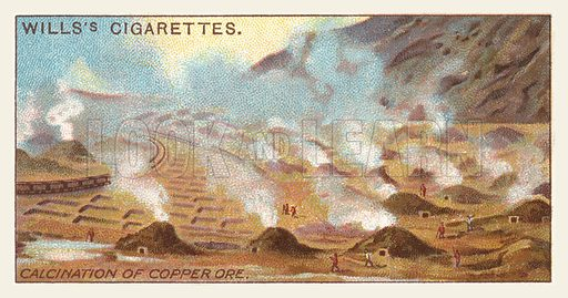 Calcination of copper ore. Illustration for one of a series of cigarette cards on the subject of mining, published by Wills's Cigarettes, early 20th century.