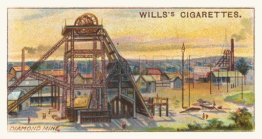 Diamond mine. Illustration for one of a series of cigarette cards on the subject of mining, published by Wills's Cigarettes, early 20th century.