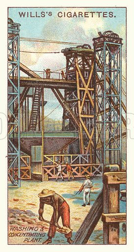 Washing and concentrating plant. Illustration for one of a series of cigarette cards on the subject of mining, published by Wills's Cigarettes, early 20th century.