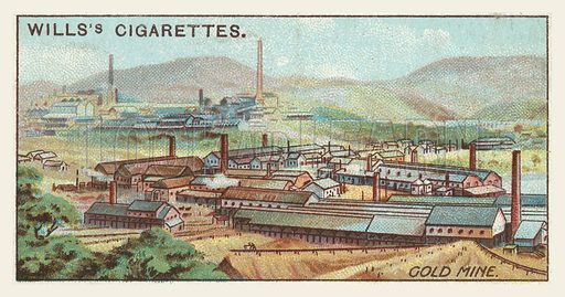 Gold mine. Illustration for one of a series of cigarette cards on the subject of mining, published by Wills's Cigarettes, early 20th century.