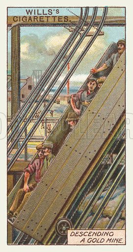 Descending a gold mine. Illustration for one of a series of cigarette cards on the subject of mining, published by Wills's Cigarettes, early 20th century.