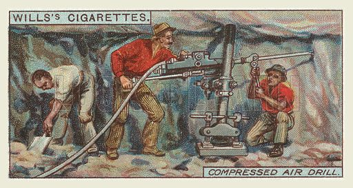 Compressed air drill. Illustration for one of a series of cigarette cards on the subject of mining, published by Wills's Cigarettes, early 20th century.
