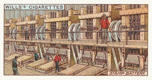 Stamp battery. Illustration for one of a series of cigarette cards on the subject of mining, published by Wills's Cigarettes, early 20th century.