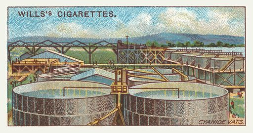Cyanide vats. Illustration for one of a series of cigarette cards on the subject of mining, published by Wills's Cigarettes, early 20th century.