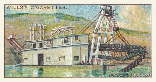 Dredging for gold. Illustration for one of a series of cigarette cards on the subject of mining, published by Wills's Cigarettes, early 20th century.