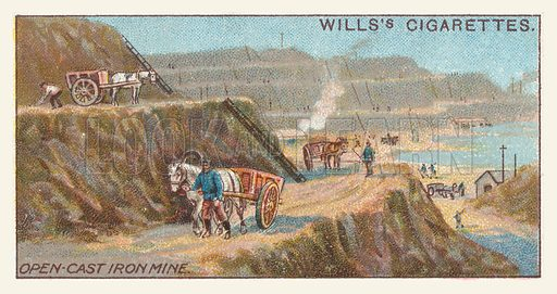 Open-cast iron mine. Illustration for one of a series of cigarette cards on the subject of mining, published by Wills's Cigarettes, early 20th century.
