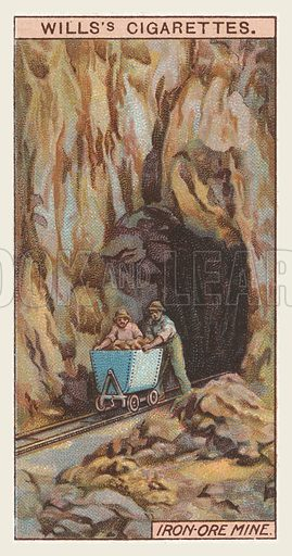 Iron-ore mine. Illustration for one of a series of cigarette cards on the subject of mining, published by Wills's Cigarettes, early 20th century.