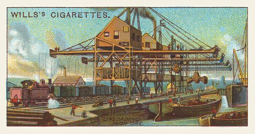 Unloading iron ore. Illustration for one of a series of cigarette cards on the subject of mining, published by Wills's Cigarettes, early 20th century.