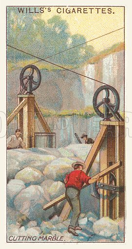 Cutting marble. Illustration for one of a series of cigarette cards on the subject of mining, published by Wills's Cigarettes, early 20th century.
