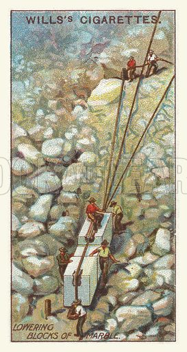 Lowering blocks of marble. Illustration for one of a series of cigarette cards on the subject of mining, published by Wills's Cigarettes, early 20th century.