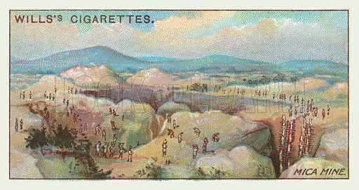 Mica mine. Illustration for one of a series of cigarette cards on the subject of mining, published by Wills's Cigarettes, early 20th century.