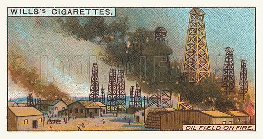 Oil field on fire. Illustration for one of a series of cigarette cards on the subject of mining, published by Wills's Cigarettes, early 20th century.
