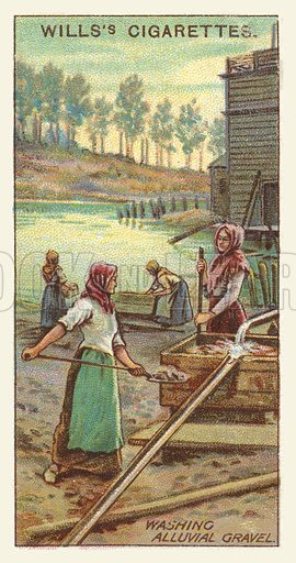 Washing alluvial gravel. Illustration for one of a series of cigarette cards on the subject of mining, published by Wills's Cigarettes, early 20th century.