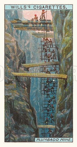 Plumbago mine. Illustration for one of a series of cigarette cards on the subject of mining, published by Wills's Cigarettes, early 20th century.