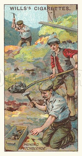 Mining pitchblende. Illustration for one of a series of cigarette cards on the subject of mining, published by Wills's Cigarettes, early 20th century.