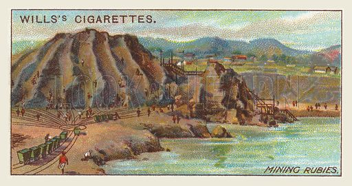 Mining rubies. Illustration for one of a series of cigarette cards on the subject of mining, published by Wills's Cigarettes, early 20th century.